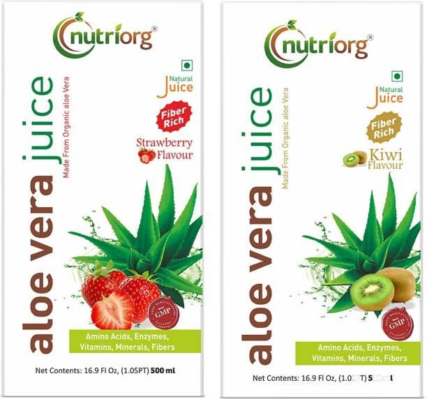 Nutriorg Aloe Vera Strawberry & Aloe Vera Kiwi Juice Detox Pack