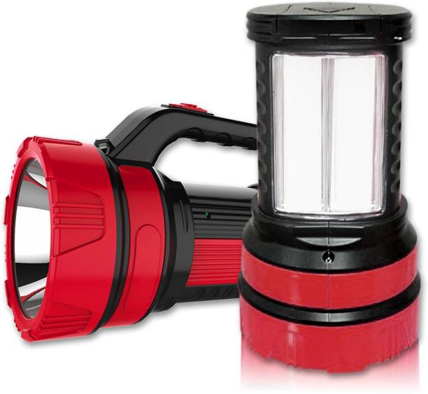 Pick Ur Needs Primer Quality 50 Watt Rechargeable Long Range Search Torch Light with 2 Side Emergency Tube Light Torch Emergency Light
