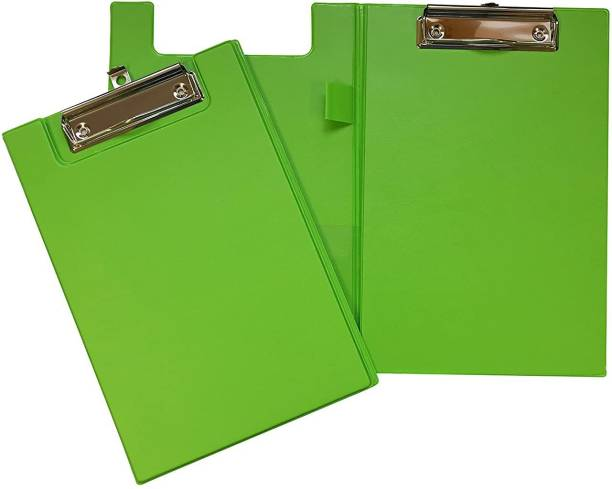 JANRAX A5 Neon Green Foldover Clipboard with Pen Holder