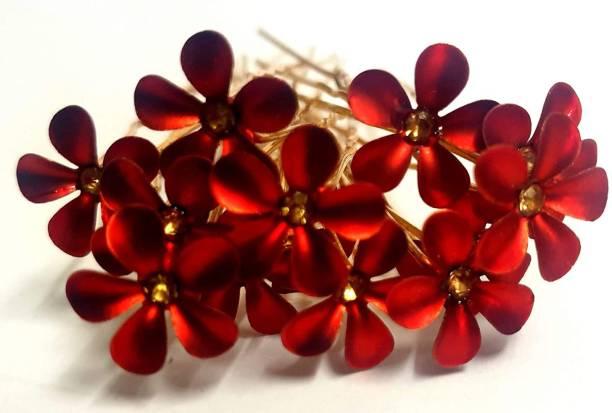 RosaStella Beautiful flower Hair Jewelry Bridal Hair Pin Juda Pins 12 pcs (red) Hair Pin