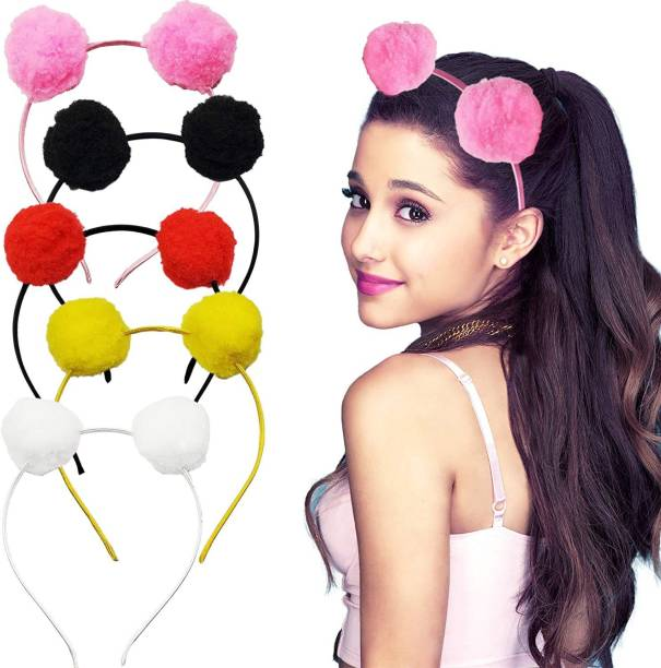 RNV Collection Pompom Hairbands Korean Style Pom Pom Fur Plastic Hairband Fancy Hair Accessories For Girls And Women Pompom Headband Beautiful Headwear In Multicolor Hair Band