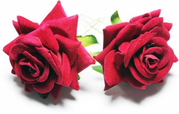 High Profile Bridal Women Hair Accessories Artificial Rose Flower Hair Clip Bun Maker For Girls Tic Tac Clip