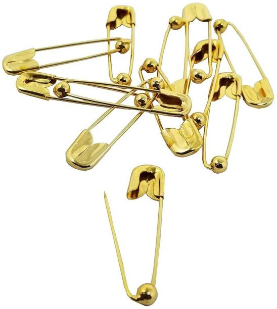 High Profile Large Size Ball Safety Pin in Gold , Sliver And Rose Gold Sliver And Rose Gold Plated Metal Saree Ball Pin Lock Pin 4.5cm for Women/Girls (Pack of 24) Back Pin