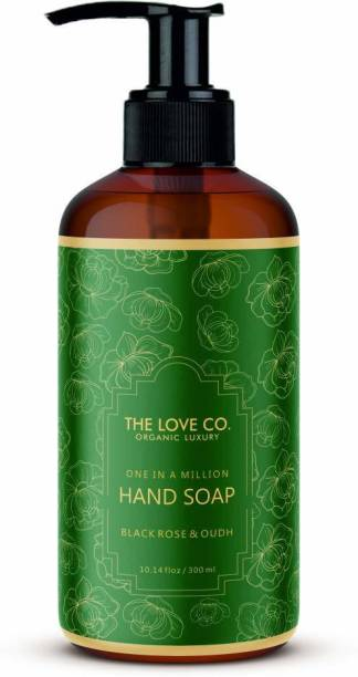 The Love Co. Mesmerising Black Rose & Oudh Foaming Hand Wash, No Parabens, Silicones & Color, 100% Vegan | Cleansing and Moisturising Gel | For Men and Women - 300 ml Hand Wash Pump Dispenser