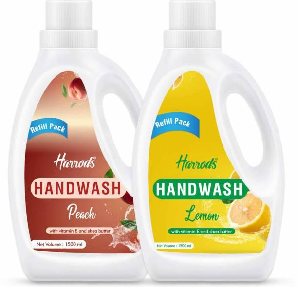 HARRODS liquid Hand washing 1500ml, Shea Butter Extracts, Gentle Mild Hand Soap Many Scents (Peach & Lemon Flavour) 2Pcs Hand Wash Bottle + Refill