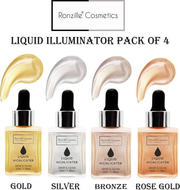 RONZILLE Professional illuminator liquid highlighter 30 ml each ( Pack of 4 ) Highlighter