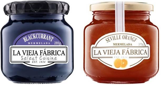La Vieja Fabrica Orange Jam 375g and Blackcurrant Jam 285g (Combo Pack) 660 g