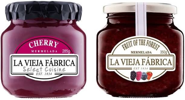La Vieja Fabrica Fruit of the Forest Jam 350g and Cherry Jam 285g (Combo Pack) 635 g