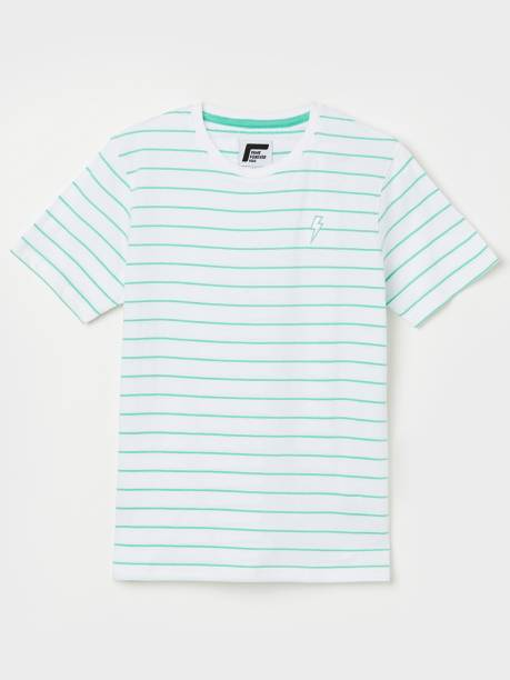 FAME FOREVER Boys Striped Pure Cotton T Shirt
