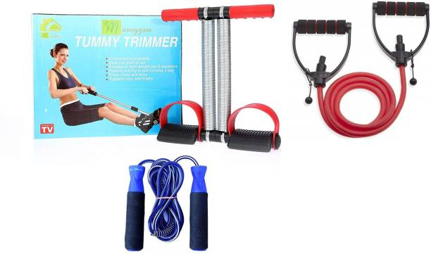 Manogyam Combo Of Tummy Trimmer And Adjustable Single Toning Tube & Blue Skipping Rope for Fitness Chest Training Equipment Home Gym Kit