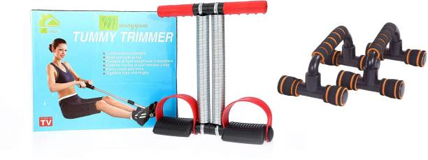 Manogyam Combo Of Tummy Trimmer $ Push-Ups Stands Bars Cushioned Foam for Fitness Chest Training Equipment Home Gym Kit
