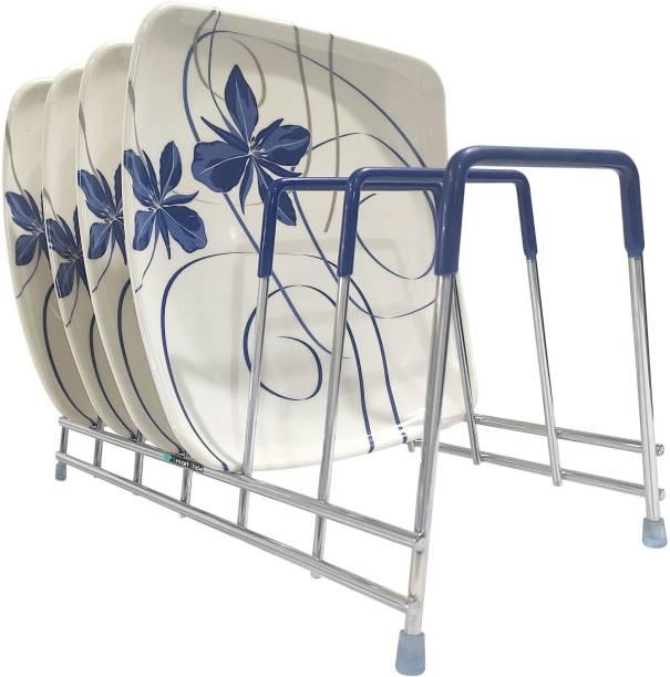 SMART SLIDE Stainless Steel Kitchen Rack - Plate Rack - Dish Rack - Plate Stand – Chopping Board Holder - Lid Holder Utensil Rack for Kitchen (6 Section) Plate Kitchen Rack