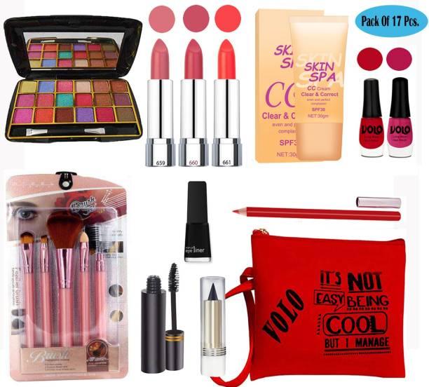 Volo Stylish Beauty makeup kit 10F2021A19 (1 Eyeshadow, 3 Lipsticks, 2 Nailpaints, 1 CC Cream,5Pcs. Brush, 1 Eyeliner , 1 Kajal,1 Mascara,1 Lipliner, 1 Pouch) Set of 17 Pcs.