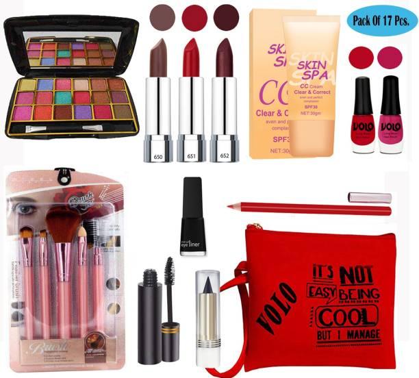 Volo Stylish Beauty makeup kit 10F2021A13 (1 Eyeshadow, 3 Lipsticks, 2 Nailpaints, 1 CC Cream,5Pcs. Brush, 1 Eyeliner , 1 Kajal,1 Mascara,1 Lipliner, 1 Pouch) Set of 17 Pcs.