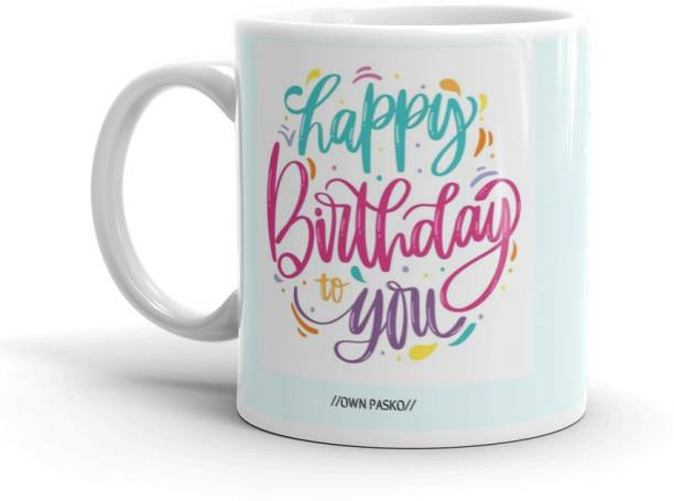OWN PASKO Happy Birthday Special Ceramic Coffee(350ml) Ceramic Coffee Mug