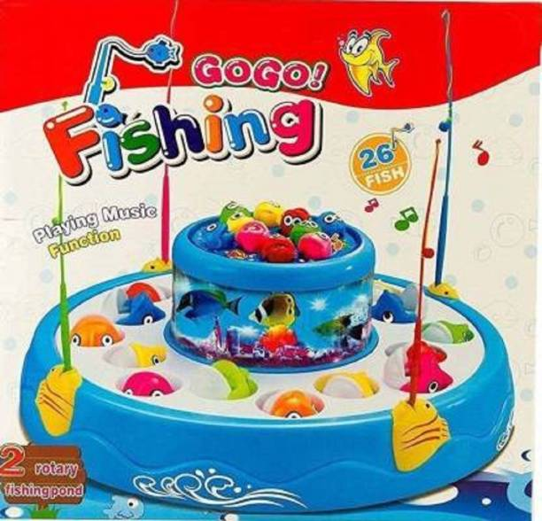 Toyporium Fishing Electric Rotating Magnetic Fish Catching Game With Musical Lights (Multicolor)
