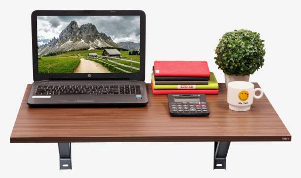 Madhuran Royal Wooden Folding Wall Mounted Study Cum Laptop Table 80x53 Cms Walnut Stand Holder Engineered Wood Study Table
