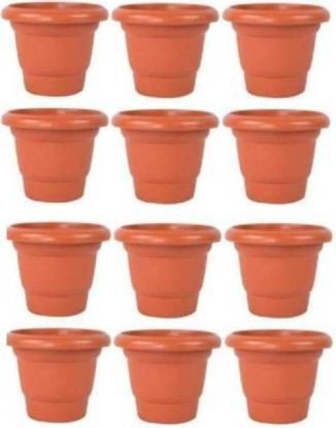 Picvel Beautiful 8 Inch Round Gardening Flower Pots Plastic Indoor Outdoor Planter Set (pack of 12) Plant Container Set