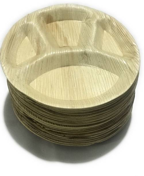 """Bio Box India 15 Pieces of Areca Palm Leaf Biodegradable Disposable Dinner Set Thali (12"""" Round plates) 15 pieces Dinner Plate"""