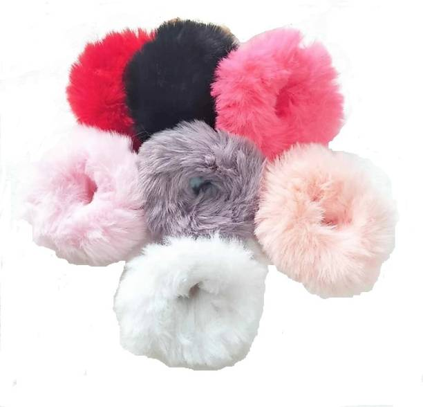 Ganapati Universal Co Soft Fluffy Fur Elastic Multicolor Hair Rubber Band Made of fur and elastic Rubber Band Rubber Band