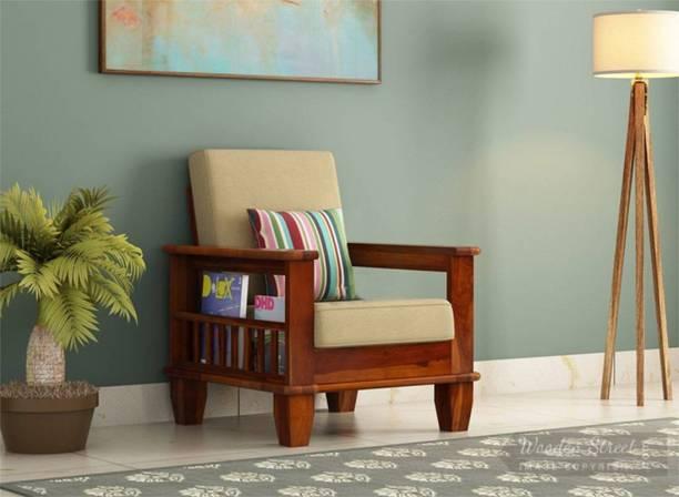 Ruchika furniture Premium Wooden Single Seater Sofa Set Fabric 1 Seater  Sofa