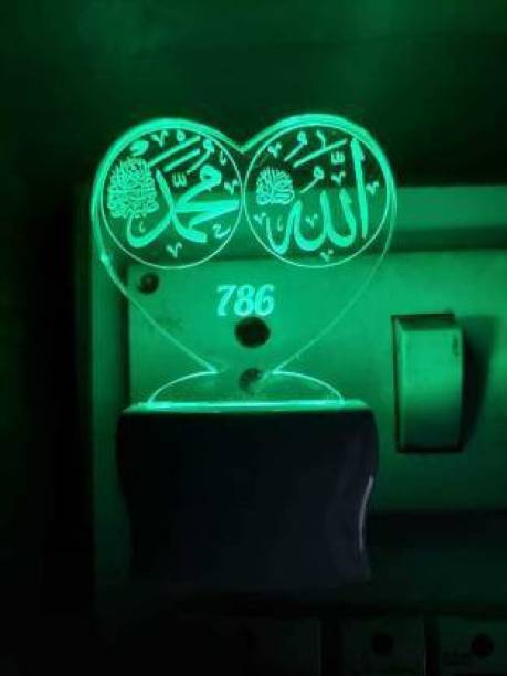 DONICY 3D Illusion LED Light Night Lights for 7 Colors Led Changing Lighting Bedroom Decoration Decorative Lighting Gifts for Boys Girls Kids Baby Friends MOST TRENDING AMD LUCKY ISLAMIC Allah Mohammad Night Lamp Night Lamp Night Lamp