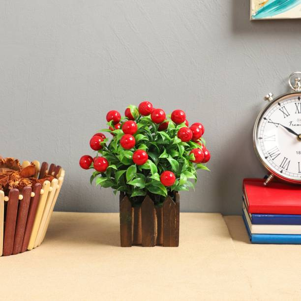 Flipkart SmartBuy Great For Home Office Table Top Green, Red Cherry Blossom Artificial Flower  with Pot