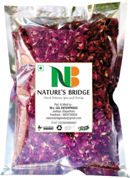 Nature's Bridge Premium Sun Dried Rose Petals / Gulab Patti (100 Gm) for Skin Care/ Herbal Tea/ Toppings for Indian Sweets/ Boost immunity Topping