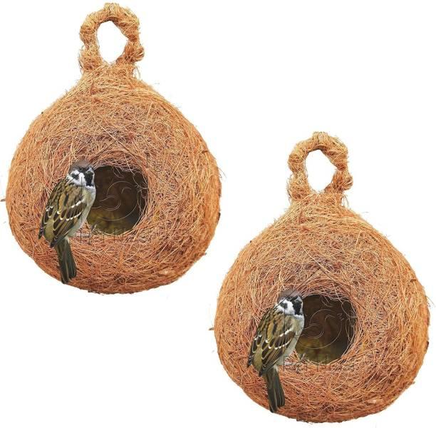 PetNest CR-4 S Safest House Organic Bird Nest Purely Handmade Sparrow (Brown)-Set of 2 Bird House