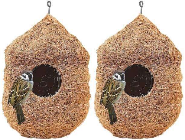 PetNest CR-2 Safest Round Organic Bird Nest Purely Handmade Sparrow (Brown) -Set of 2 Bird House