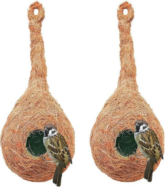 PetNest CR-1 Quality Safest Round Organic Bird Nest Purely Handmade Sparrow (Brown) -Set of 2 (2 Nos) Bird House