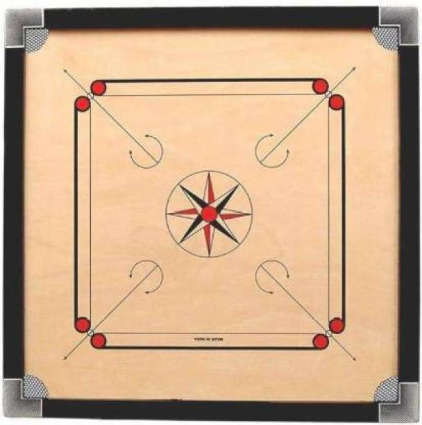se sports gloss fine carrom 26 inch with coins an striker and caroom powder Carrom Board Board Game
