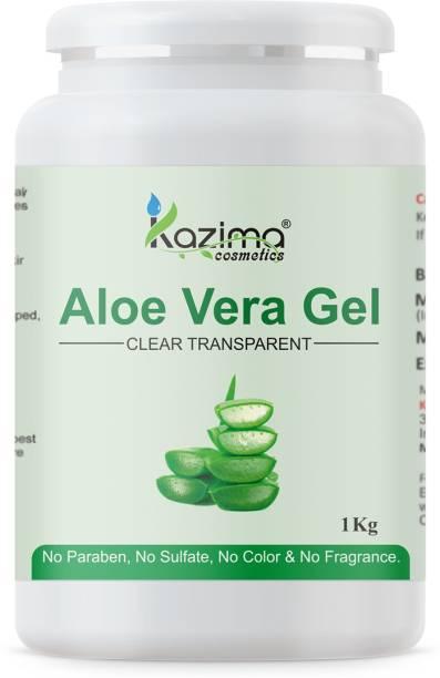 KAZIMA Pure Natural Raw Aloe Vera Gel ( 1KG ) - Ideal for Skin Care, Face, Acne Scars, Hair Treatment