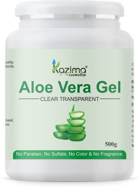 KAZIMA Pure Natural Aloe Vera Gel (500 Gram) - Ideal for Skin Treatment, Face, Acne Scars, Hair Treatment