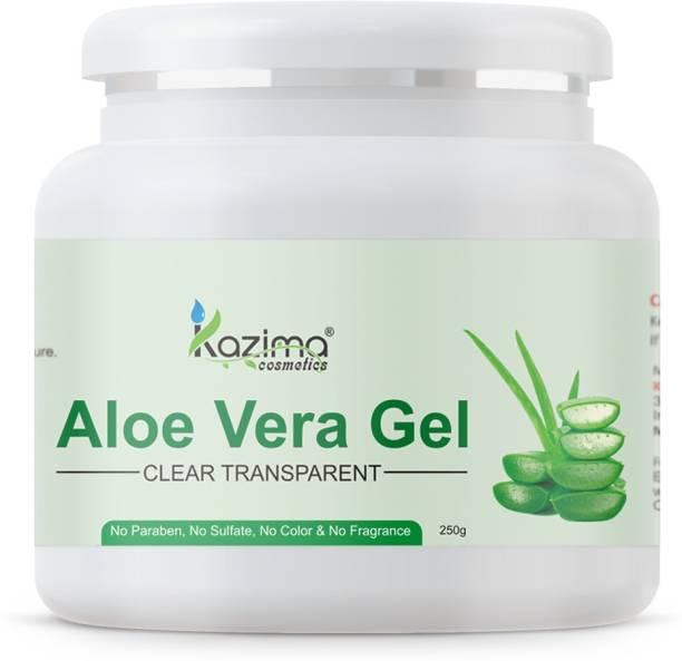 KAZIMA Pure Natural Aloe Vera Gel (250 Gram ) - Ideal for Skin Treatment, Face, Acne Scars, Hair Treatment