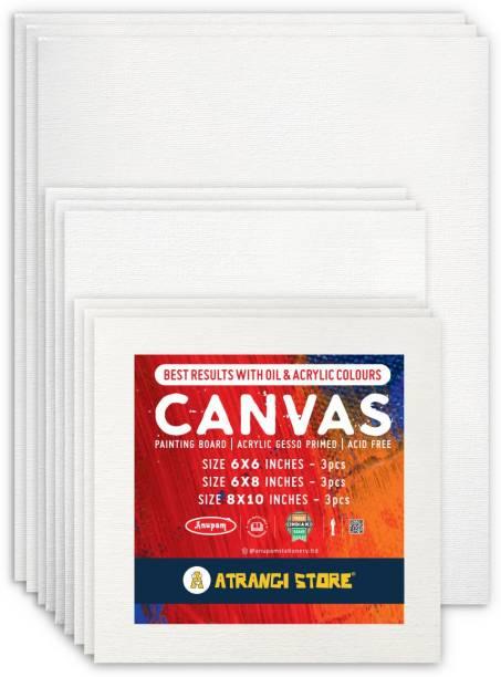 Atrangi Store Canvas Boards for Painting Cotton Medium Grain Board Canvas (Set of 9)