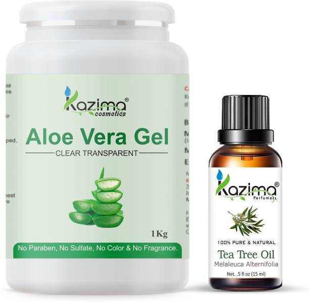 KAZIMA Aloe Vera Gel Raw (1KG) and Tea Tree oil (15ml) Ideal for Scalp, Acne Scars, Skin & Hair Treatment