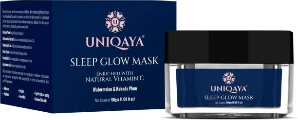 UNIQAYA Sleep glow Mask- Protects, nourishes, and de-tans, lightweight, non-greasy, rejuvenating, revitalizing, ultra-hydrating, and brightening, renews Skin cells, Fights signs of aging, 50gm…