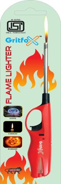Gritfox Adjustable Flame Gas Lighter Refillable Gun Spark Kitchen Lighter Gas Stove Lighter With Safety Lock Plastic Gas Lighter Pack of 1 pc Plastic, Steel Gas Lighter