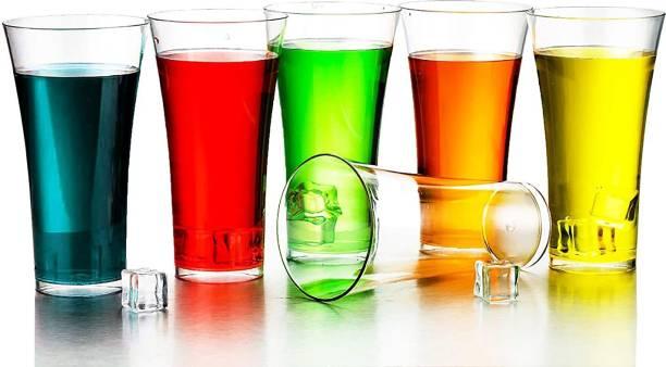Krepton (Pack of 6) Stylish Unbreakable Plastic Transparent Juice Glass Glass Set