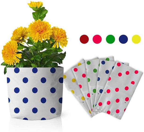 TrustBasket Set of 5 premium colourful Dotted Grow bags (20*20*35 cms) Grow Bag