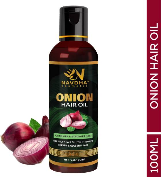 Navdha Cosmetic Onion Hair Oil 100 ML with 14 Essential Oils, Onion Hair Oil For Hair Growth  Hair Oil