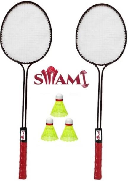 Swami Double Shaft Badminton Racket Set Of 2 Piece With 3 Piece Plastic Shuttle Badminton Kit
