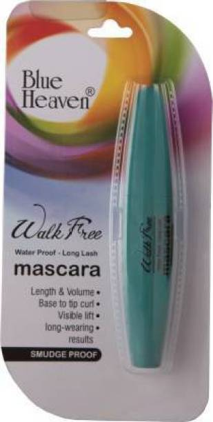 BLUE HEAVEN Walk Free Mascara (Water Proof - Long Lash) Green Pack 12 ml (Black) 1 ml