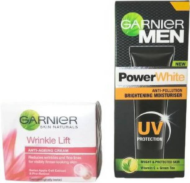 GARNIER Men Power White (UV Protection) Moisturiser CREAM + Skin Naturals Wrinkle Lift Anti-Ageing Cream (pack of 2)