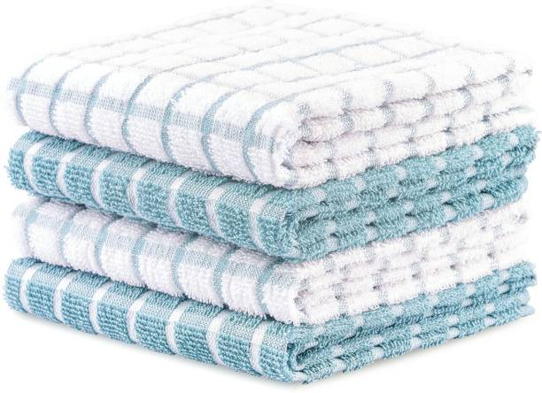 Brittmo 4 Pack Premium Cotton Terry Kitchen Dish Towel Set (40x65 cm - Aqua, Checked Design) |Super Soft and Highly Absorbent|Perfect for Everyday Household & Commercial Use Aqua Napkins