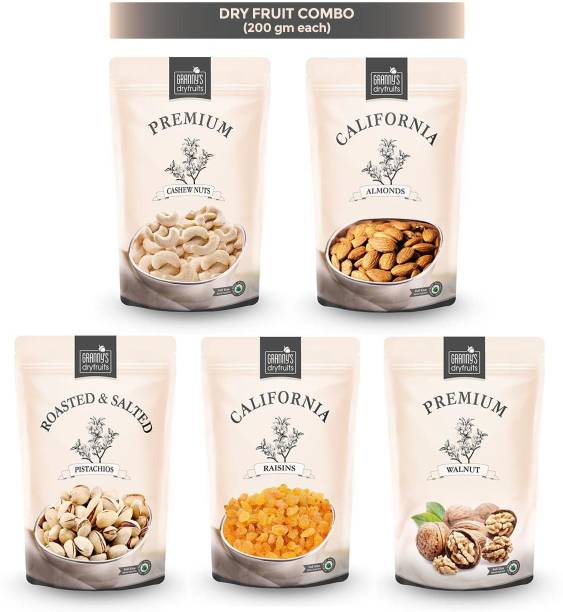Grannys Dryfruits Cashew Almond Pista walnut Raisins combo 200*5 Cashews, Almonds, Pistachios, Raisins, Walnuts