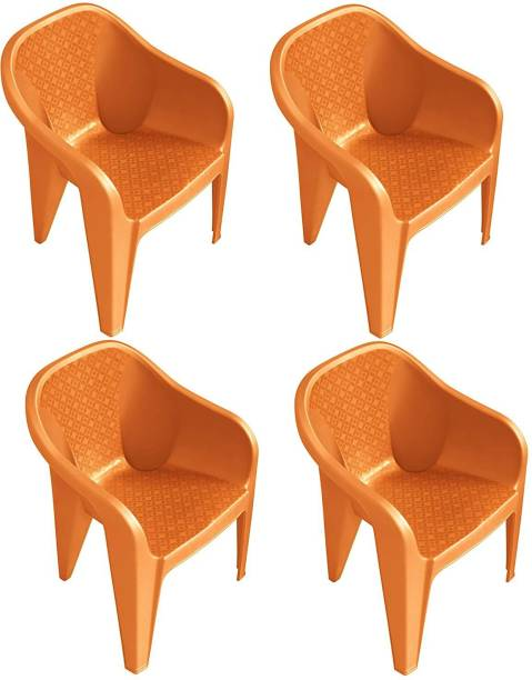MAHARAJA Sigma Plastic Chair Set of 4 with Matt & Glossy Texture for Home, Office and Restaurant(Orange) Plastic Cafeteria Chair