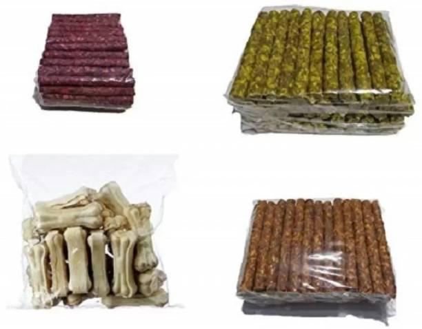 ALCAZAR Munchy Chew Sticks Chicken (250G), Munchy Sticks Mutton (250G), Munchy Sticks Natural (250G), White Bone 3 Inch (250G) Chicken, Mutton, Vegetable Dog Chew