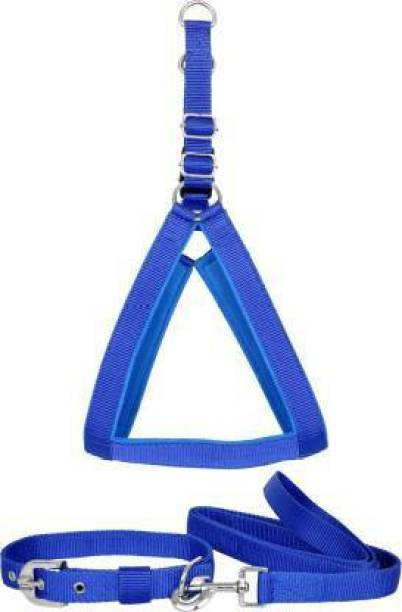 S.Blaze Dog Belt Combo of Blue Dog Harness, Collar & Leash Specially for Small Breed Dog Harness & Leash